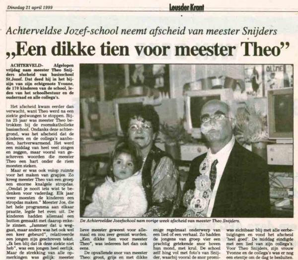 1999 Tijdlijn afscheid Theo Snijders